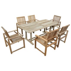 Vintage Outdoor Garden Teak Dining Table and Chairs Set
