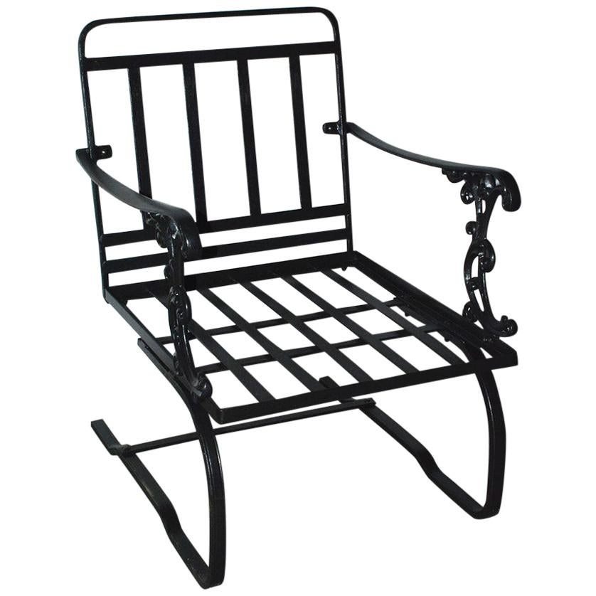 Vintage Outdoor Porch or Garden Lounge Chair on Spring Base