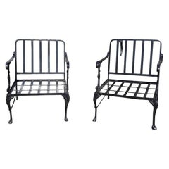 Vintage Outdoor Porch or Garden Metal Lounge Chairs