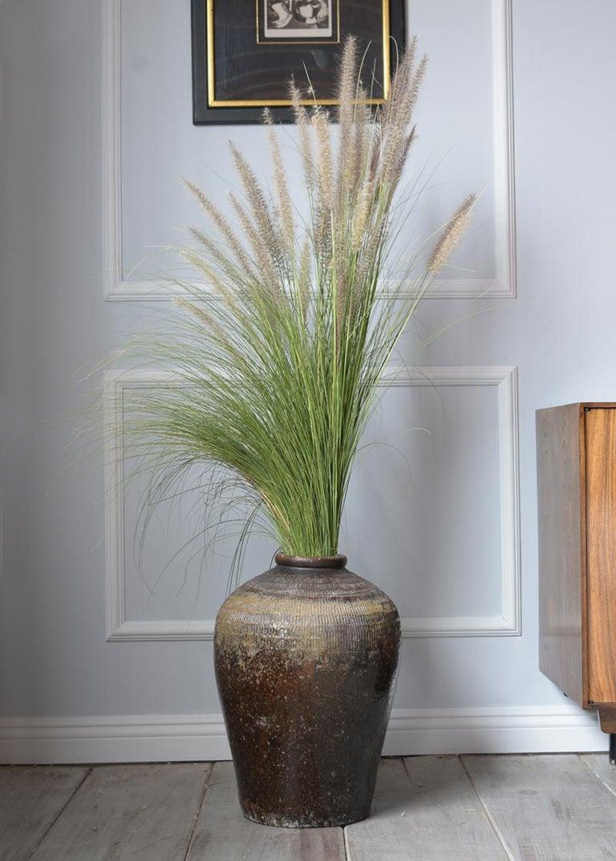Carved Vintage Outdoor Urn Ceramic Vase For Sale