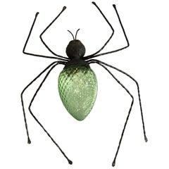 Vintage Outdoor Wrought Iron Murano Glass Lucky Charm Spider Sconce, Italy 1960s