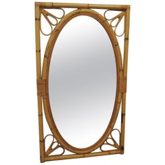 Vintage Oval Bamboo and Rattan Mirror on Rectangular Frame