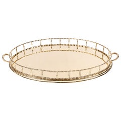 Vintage Oval Brass 'Bamboo' Tray