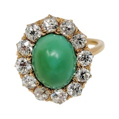 Vintage Oval Cabochon Green Turquoise and Diamond Halo Cocktail Rose Gold Ring