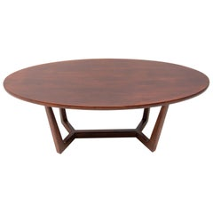 Vintage Oval Coffee Table, Czechoslovakia, 1970s