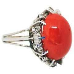 Vintage Oval Coral and Diamond Cocktail Ring
