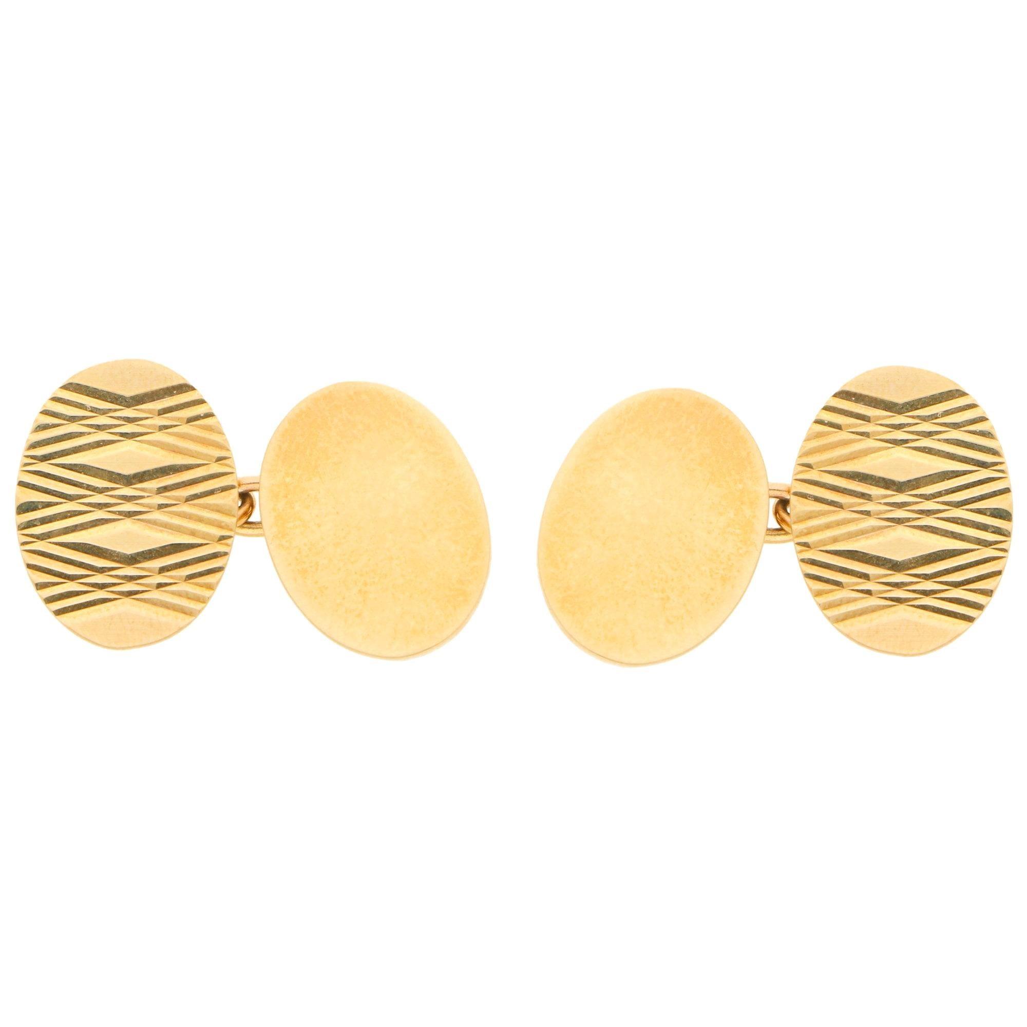 Vintage Oval Geometric Chain Cufflinks Set in 9k Yellow Gold