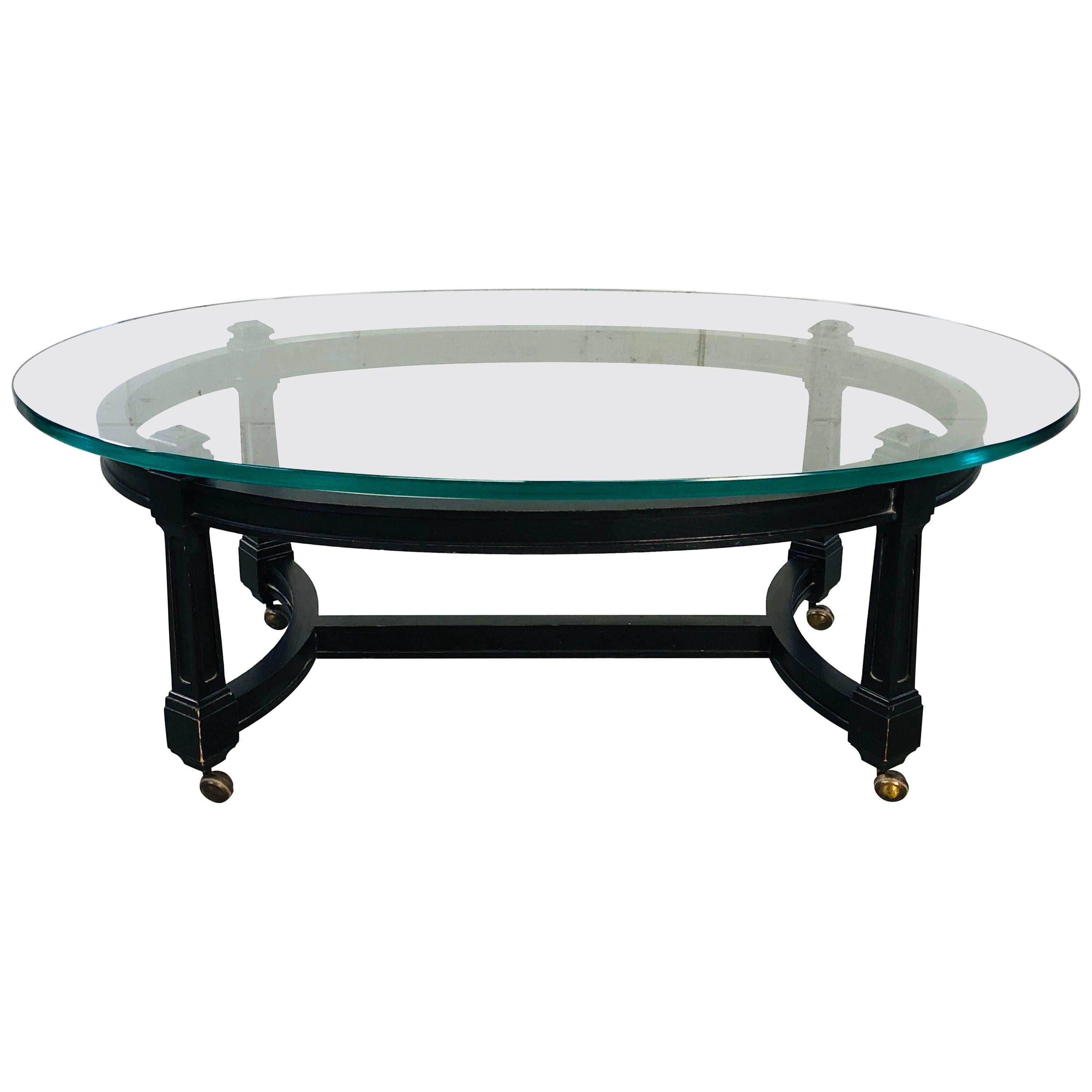 Picture of: Vintage Oval Glass Top And Black Wood Coffee Table For Sale At 1stdibs