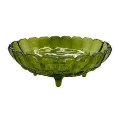 Vintage Oval Green Glass Scalloped Serving Platter or Fruit Bowl