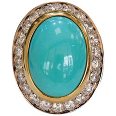 Vintage Oval Howlite and Diamond Fashion Ring, circa 1970s