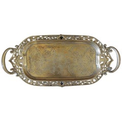 Vintage Oval Indian Brass Decorative Tray with Handles