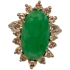 Vintage Oval Jadeite and Diamond 18 Karat White Gold Ring
