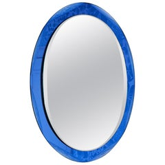 Vintage Oval Mirror with Blue Tinted Glass Frame, Italy, 1960s
