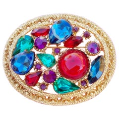 Vintage Oval Mughal Style Cabochon Brooch by Sphinx, 1960s
