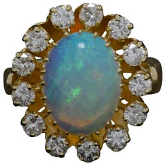 Vintage Oval Opal Diamond 4.30 Carat Cocktail Engagement Ring Cluster Statement