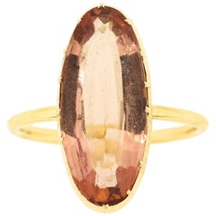 Vintage Oval Precious Topaz 18 Karat Rose Gold Ring