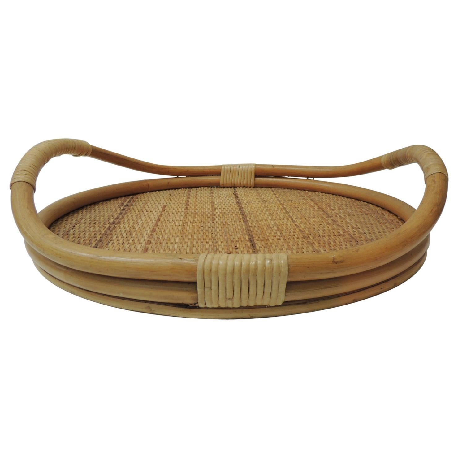 Vintage Oval Shape Bamboo and Rattan Serving Tray