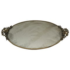 Vintage Oval Vanity Tray with Brass Handles