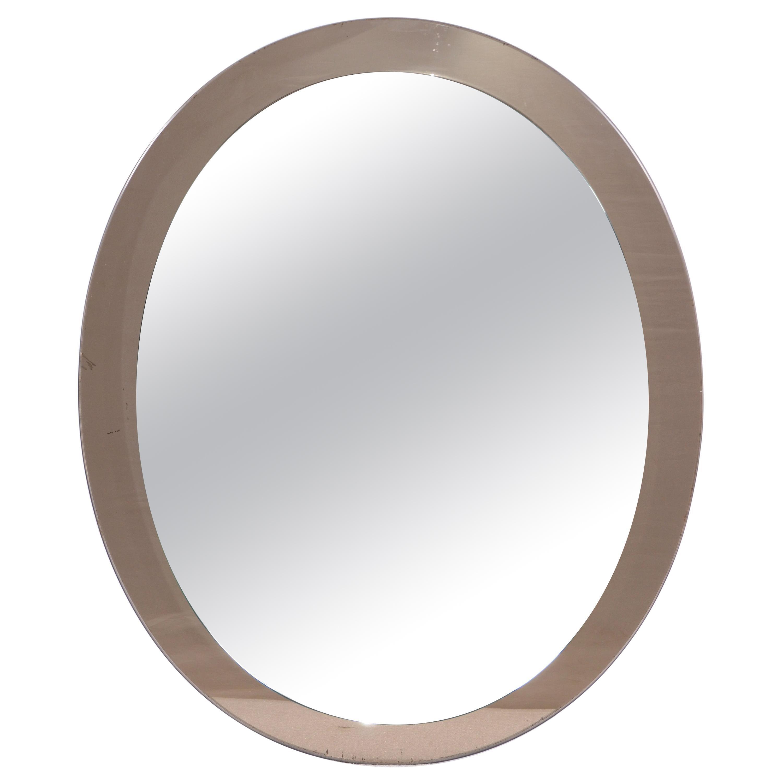Vintage Oval Veca Beveled Wall Mirror 1960s Italian