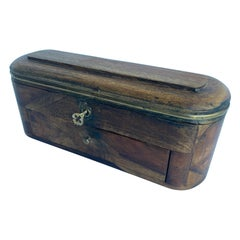 Vintage Oval Wood and Brass Jewelry Box