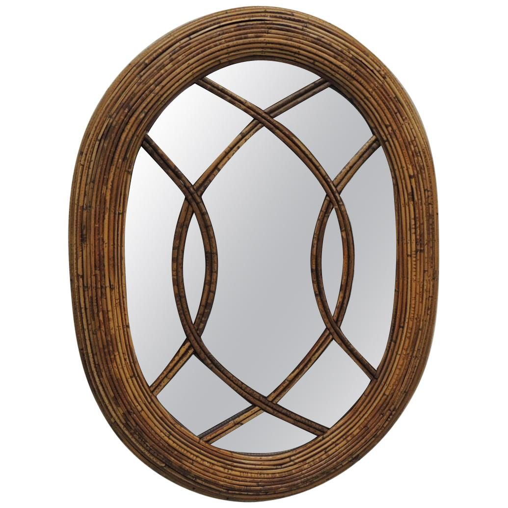 Vintage Oval Woven Bamboo and Rattan Decorative Wall Mirror