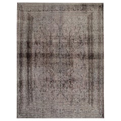 Vintage Over-Dyed Grey Rug Carpet Oriental Wool Area Rug