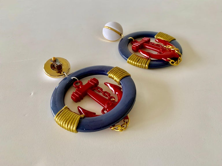 Vintage Over-sized Nautical Hoop Statement Earrings  For Sale 7