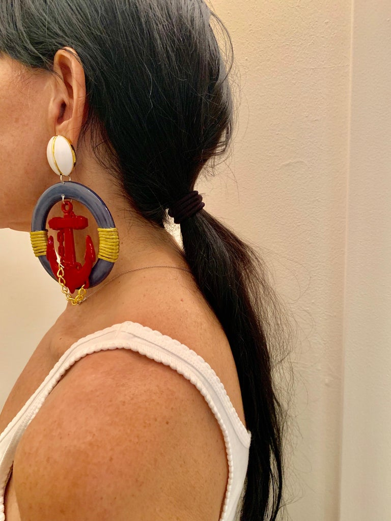 Contemporary Vintage Over-sized Nautical Hoop Statement Earrings  For Sale