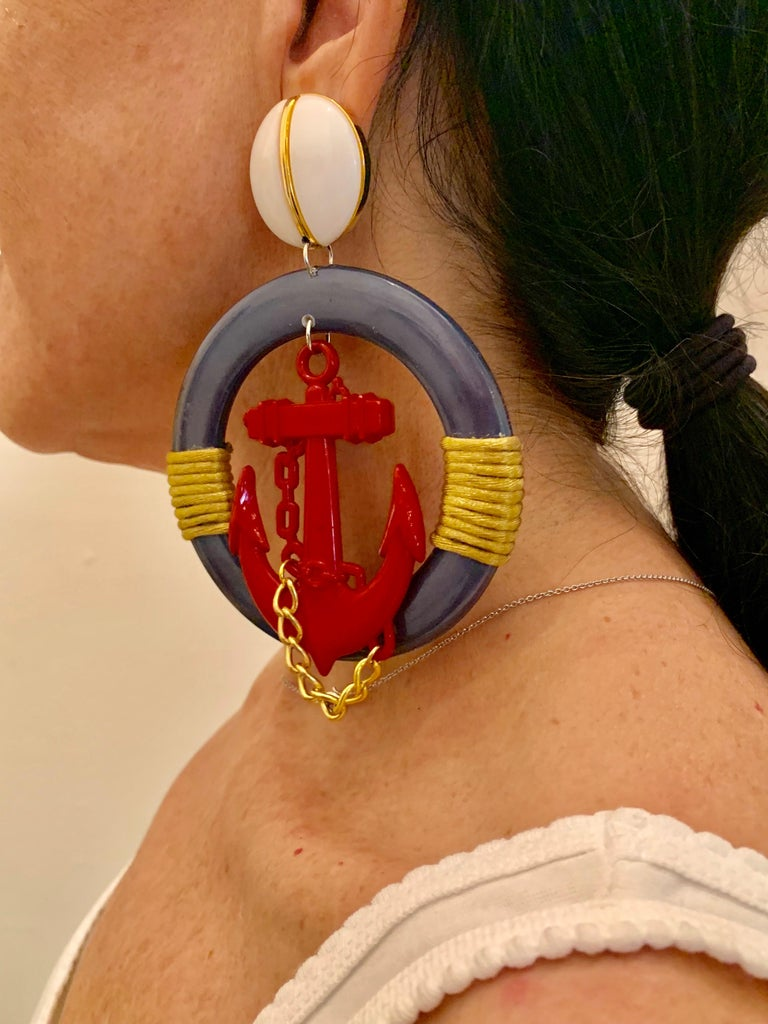 Vintage Over-sized Nautical Hoop Statement Earrings  In Excellent Condition For Sale In Palm Springs, CA
