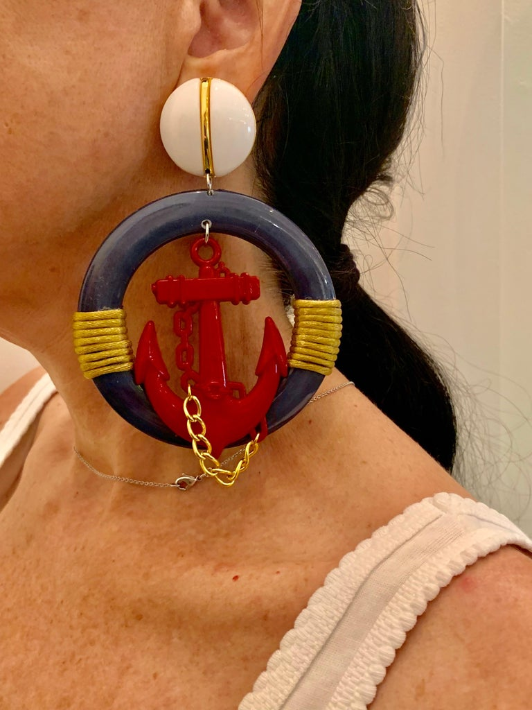 Women's Vintage Over-sized Nautical Hoop Statement Earrings  For Sale