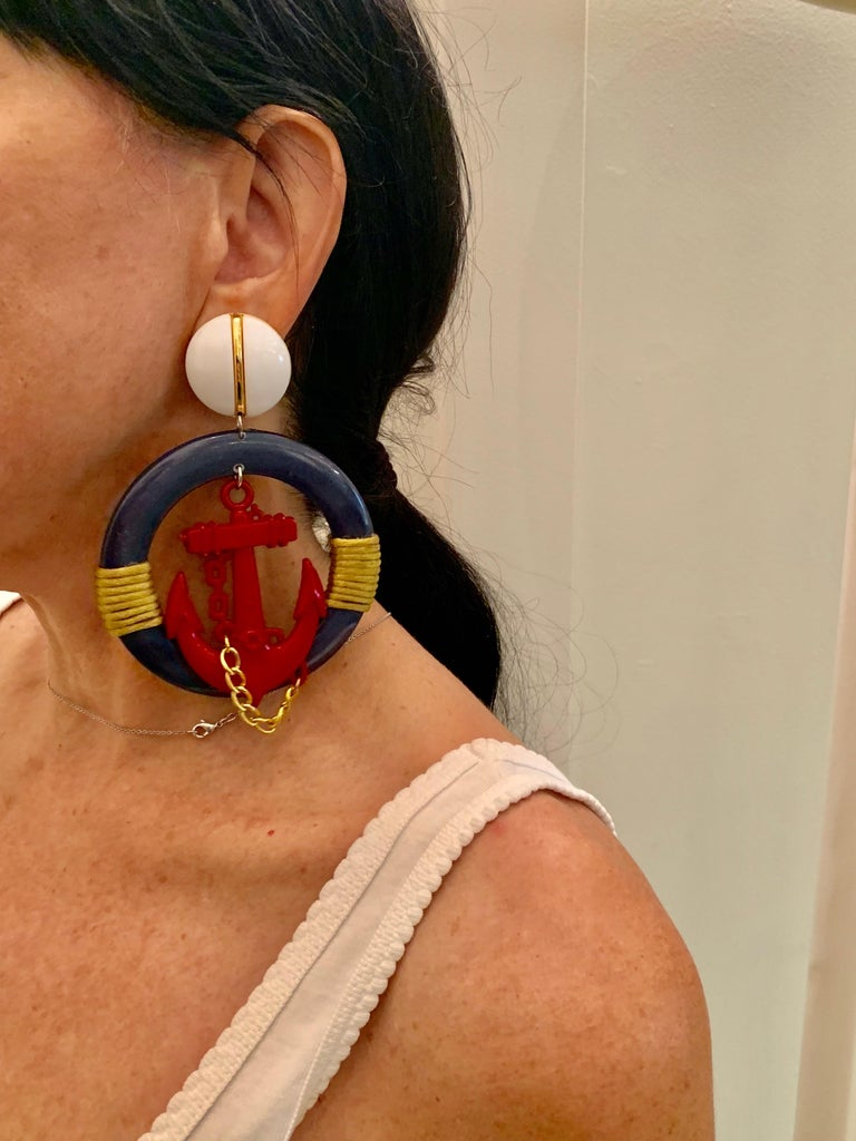 Vintage Over-sized Nautical Hoop Statement Earrings  For Sale 1