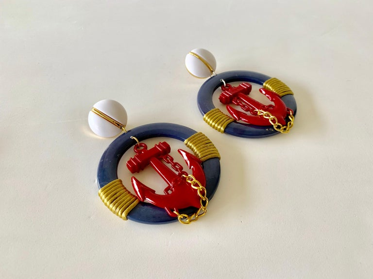 Vintage Over-sized Nautical Hoop Statement Earrings  For Sale 2