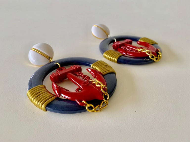 Vintage Over-sized Nautical Hoop Statement Earrings  For Sale 3