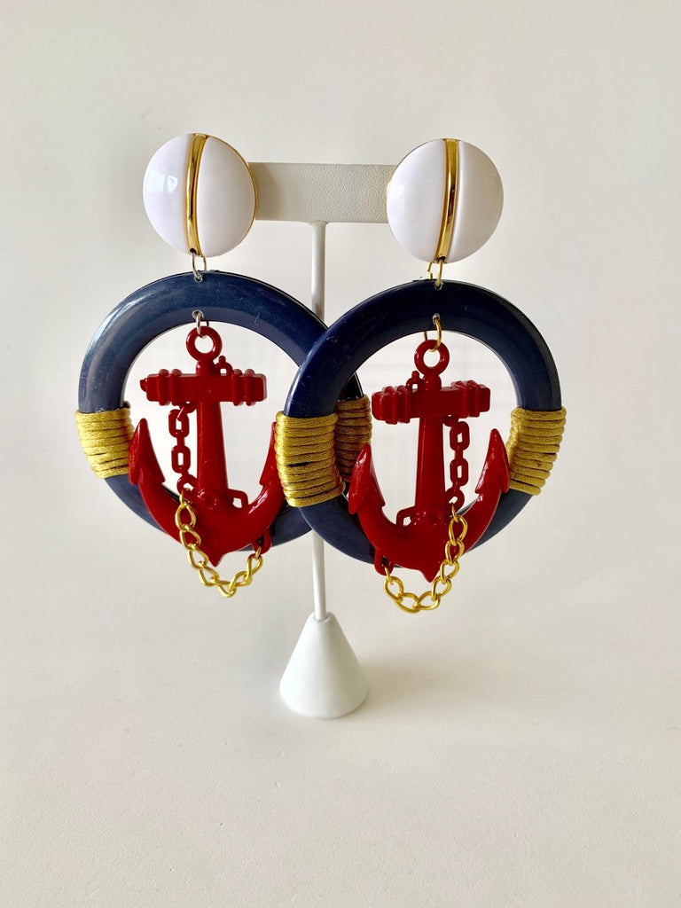 Vintage Over-sized Nautical Hoop Statement Earrings  For Sale 4