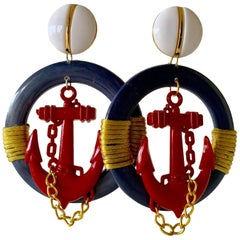 Vintage Over-sized Nautical Hoop Statement Earrings