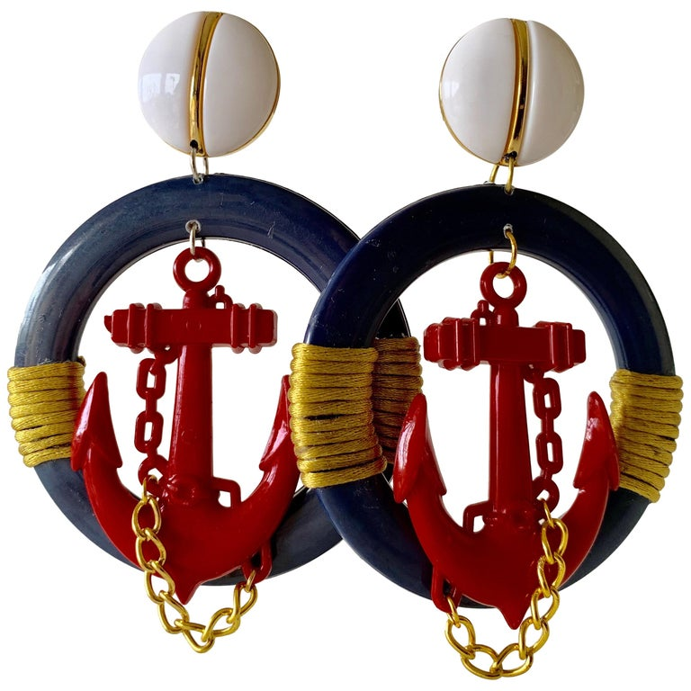 Vintage Over-sized Nautical Hoop Statement Earrings  For Sale