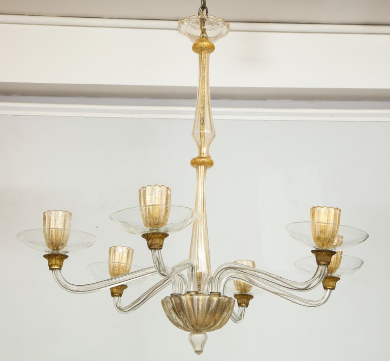 Vintage over-sized six-arm Murano chandelier.
