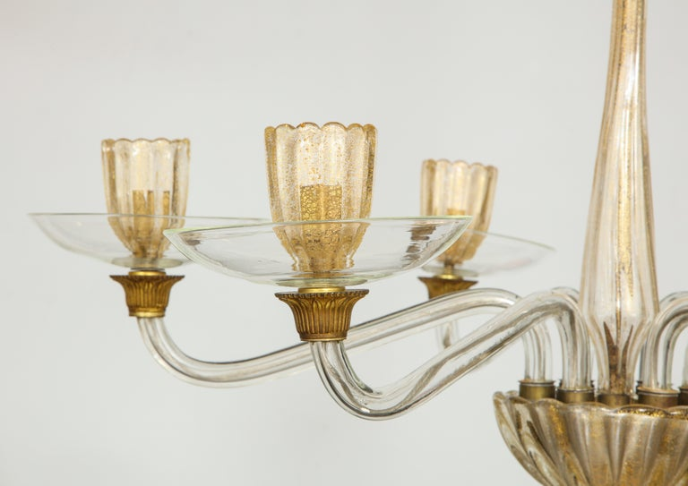 Hand-Crafted Vintage Over-Sized Six-Arm Murano Chandelier For Sale