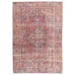 Vintage Overdye Persian Rug with Black and Red Botanical Details