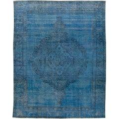 Blue Vintage Overdyed Wool  Carpet