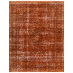 "Vintage Overdyed Orange Room Size Wool Rug. 9'9""x12'6"""