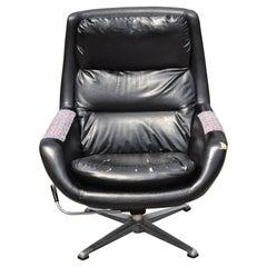 Vintage Overman Swedish Mid-Century Modern Swivel Pod Lounge Club Arm Chair