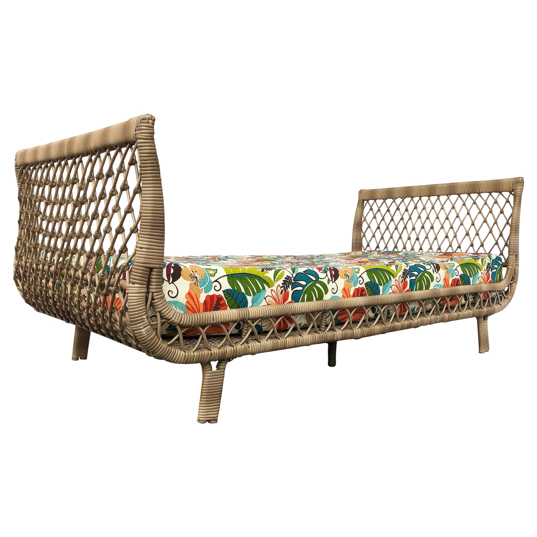 Vintage Overscale Coastal Rattan Daybed Lounge, Reupholstered
