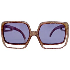 Vintage Oversize Christian Dior Space Age Brown Sunglasses