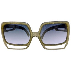Vintage Oversize Christian Dior Space Age Green Sunglasses