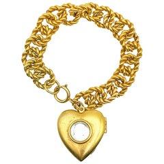 Vintage Oversize Heart Locket with Chunky Charm Bracelet 1980s