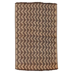 Vintage Oversize Saharan Tuareg Leather and Reed Rug