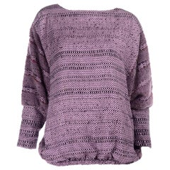 Vintage Oversized 1980s Handwoven Purple Nikos Sweater With Dolman Sleeves