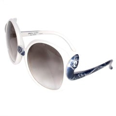 Vintage Oversized Pierre Cardin Sunglasses in White w/ Faux Marble Blue Trim