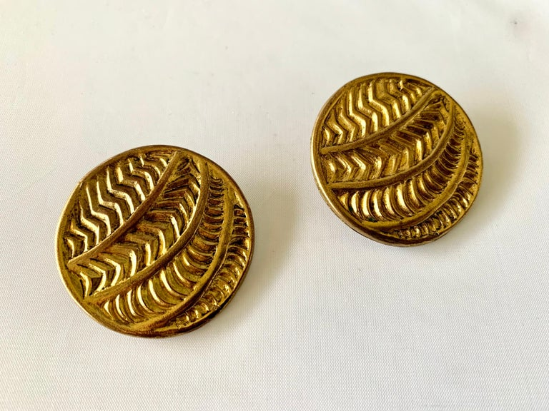 Women's Vintage Oversized Round Texture Statement Earrings by Isabel Canovas For Sale